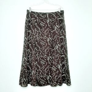 Liz Claiborne Midi Skirt Brush Stroke Patterned 12